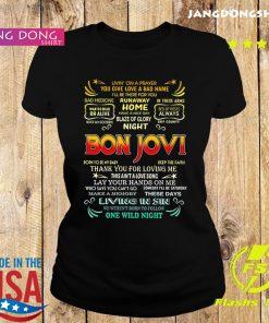Bon Jovi livin' on a prayer you give love a bad name s Ladie tee