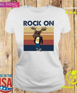 Rock On Reindeer Glasses Vintage Retro Shirt Ladies tee
