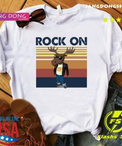 Rock On Reindeer Glasses Vintage Retro Shirt