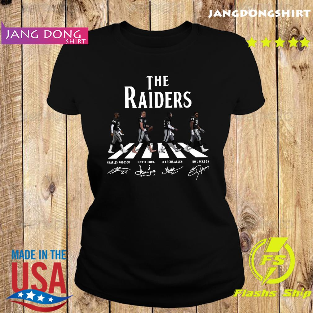 The Raiders Walking The Abbey Road Bo Jackson Marcus Allen Signatures Shirt Ladie tee