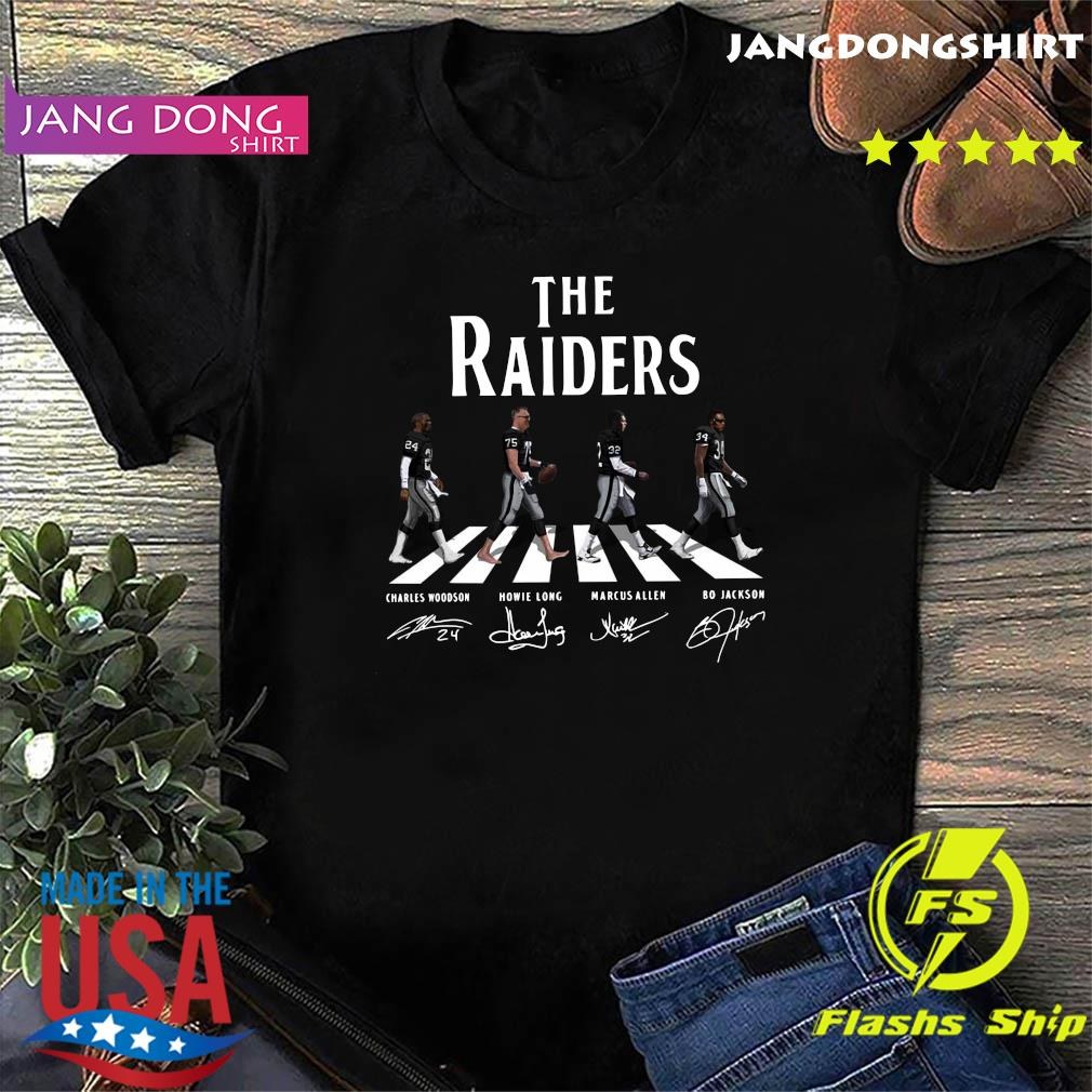 The Raiders Walking The Abbey Road Bo Jackson Marcus Allen Signatures Shirt