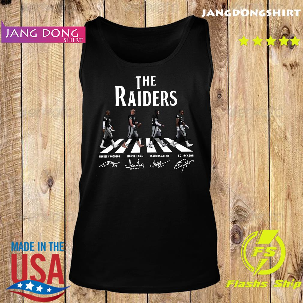 The Raiders Walking The Abbey Road Bo Jackson Marcus Allen Signatures Shirt Tank top