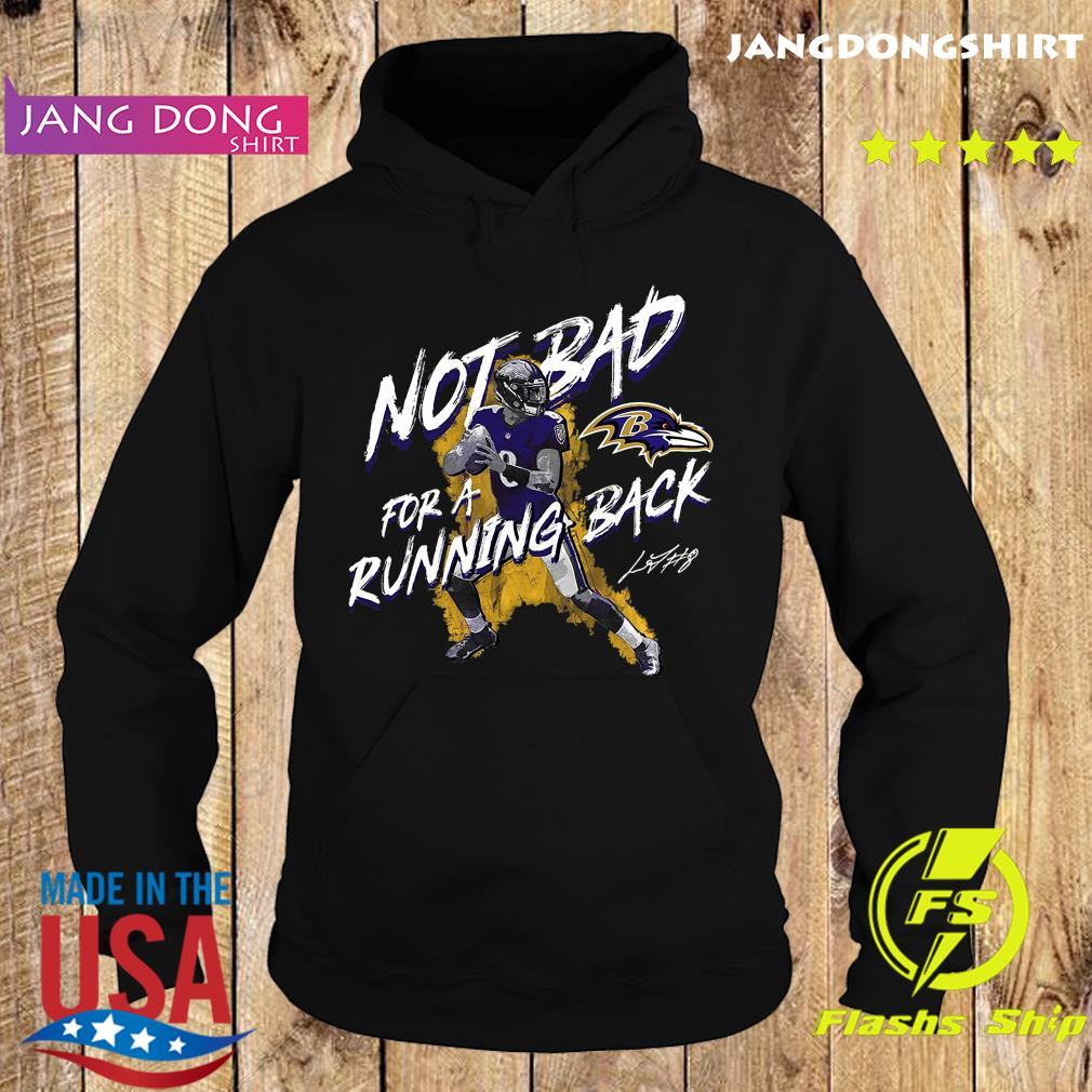 Baltimore Ravens Lamar Jackson Majestic Black NFL Pro Line by Fanatics Branded Not Bad for a Running Back T-Shirt Hoodie