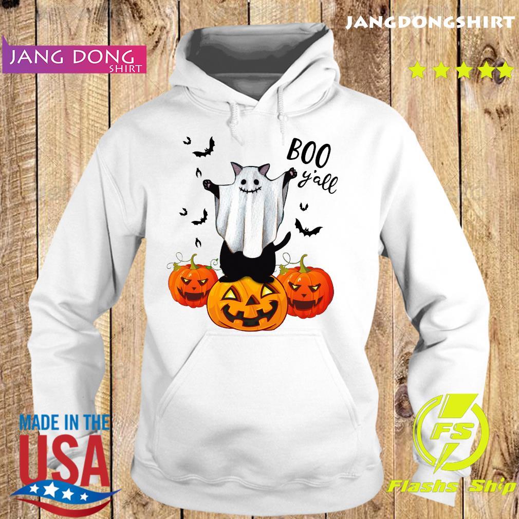 Ghost Black Cat Boo Y'all Pumpkin Halloween Shirt Hoodie