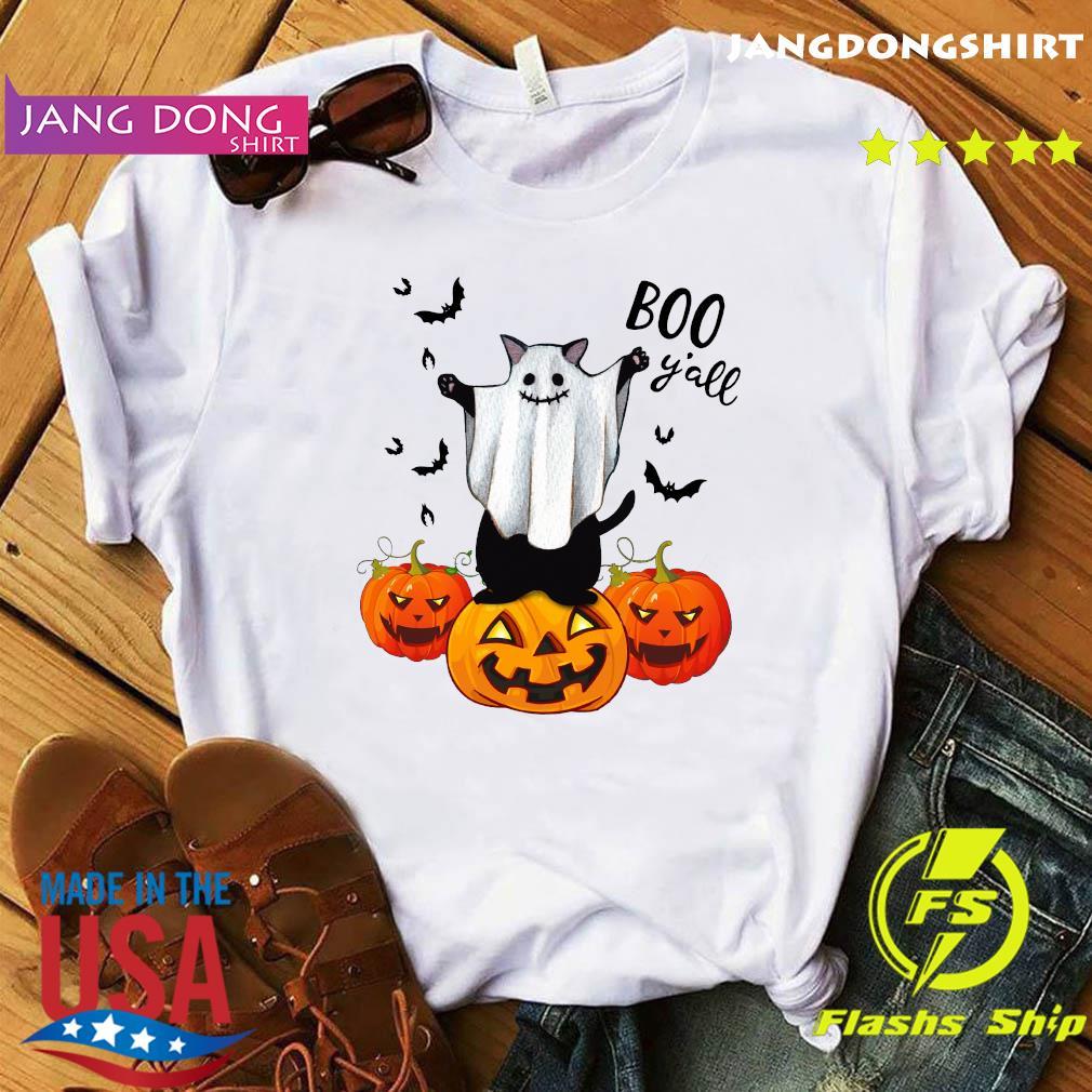 Ghost Black Cat Boo Y'all Pumpkin Halloween Shirt