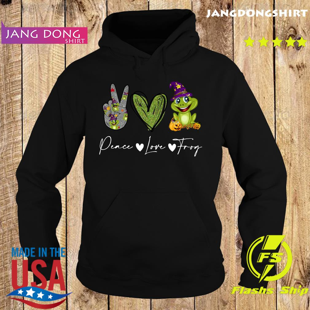 Peace Love Frog Witch Halloween Shirt Hoodie