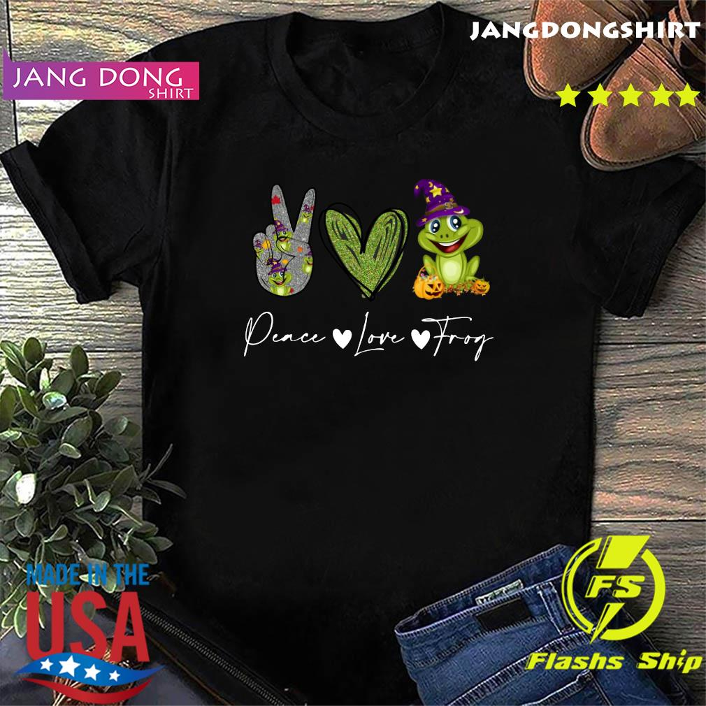 Peace Love Frog Witch Halloween Shirt