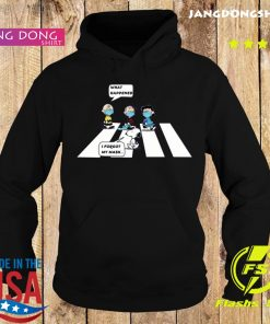 Peanut Charlie Brown Abbey Road What Happened Snoopy I Forgot My Mask Shirt Hoodie