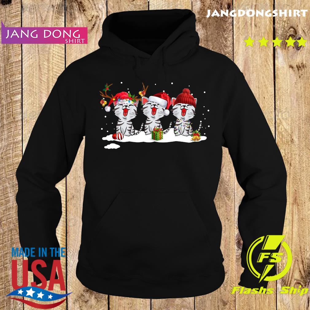 Women's Cute Santa Cat Merry Christmas Cat Shirt Hoodie