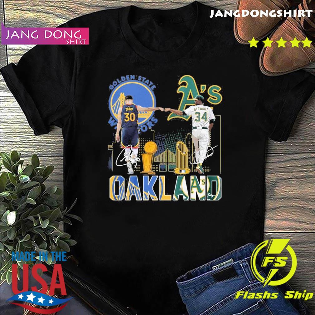 Curry Golden State Warriors and Stewart Oakland Athletics Oakland signatures shirt