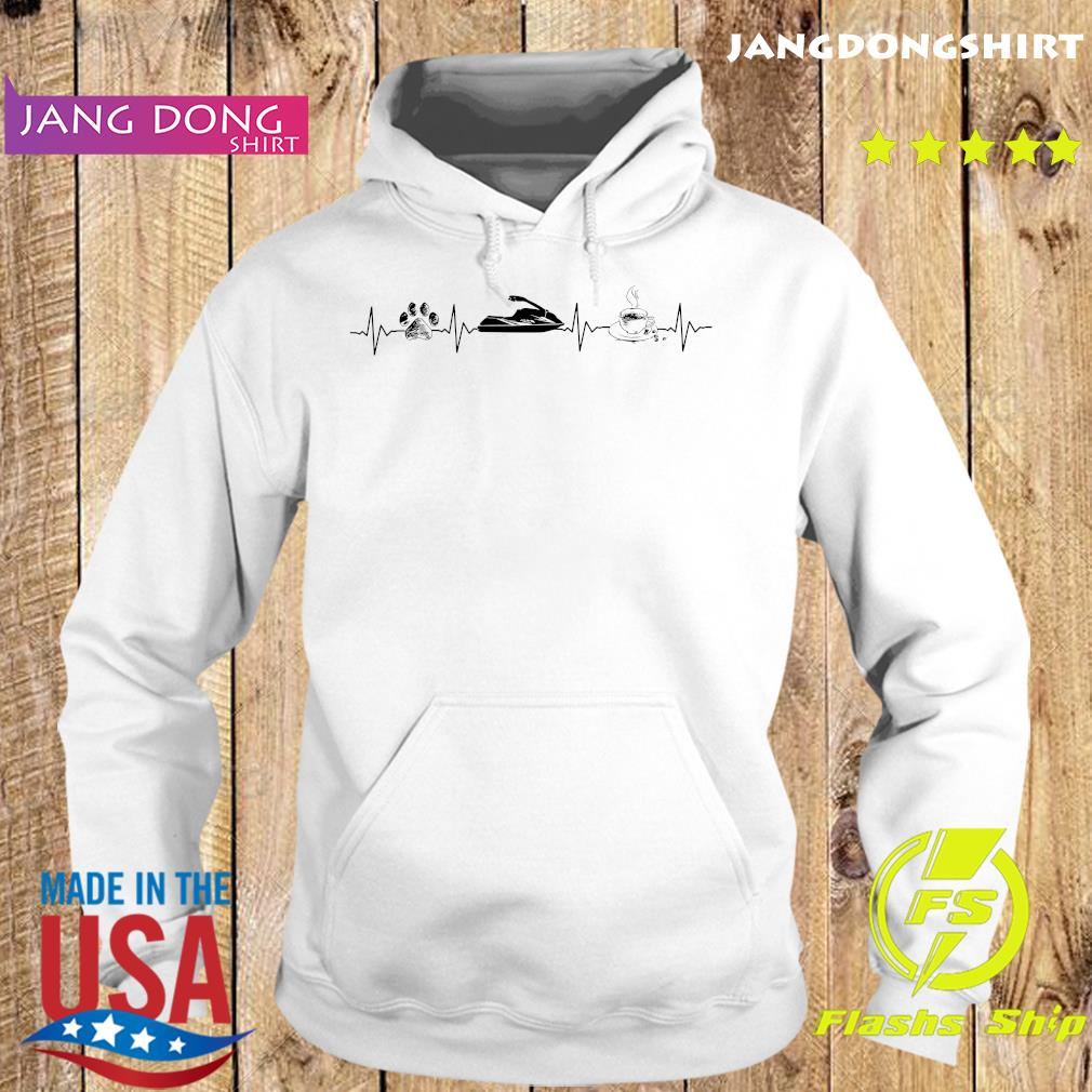 Heartbeat Dog Jet Ski And Coffee Shirt Hoodie