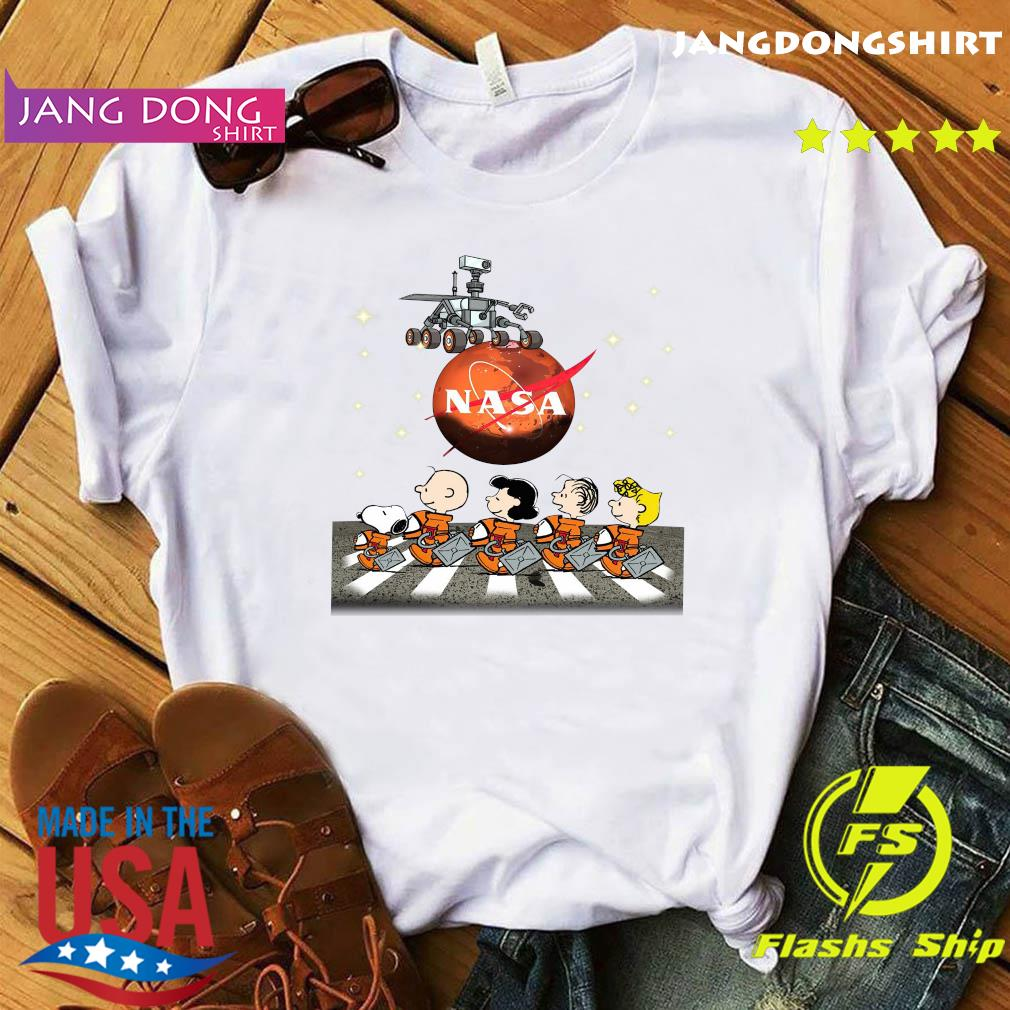 Official NASA Snoopy Charlie Brown And Friends Abbey Road Mars Perseverance Rover Mission 2020 Shirt