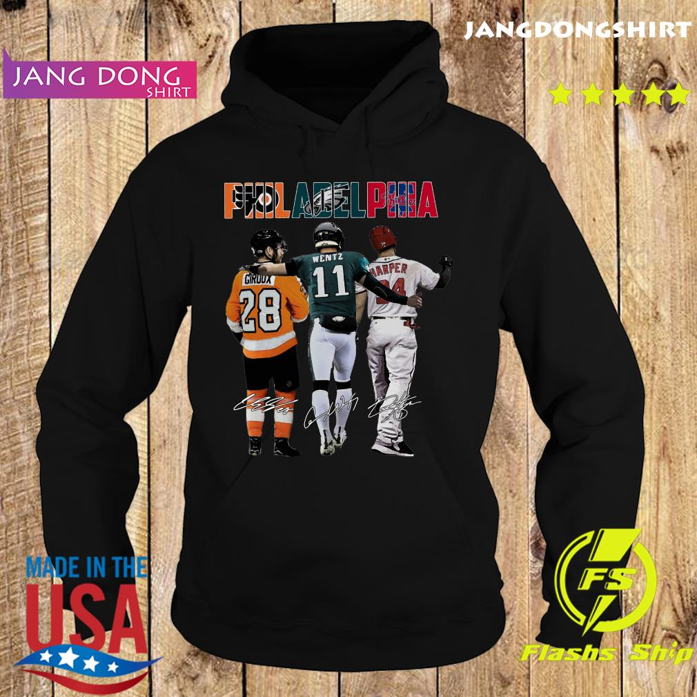 Official Philadelphia Sport Teams 28 Giroux 11 Wentz And 34 Harper Signatures Shirt Hoodie
